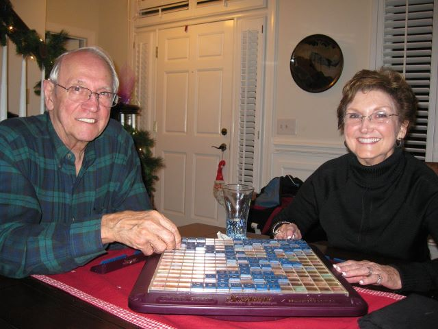 Playing Scrabble with Sharon - and losing!